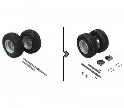 Heavy duty axles and traction wheels